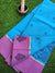 Woven booties on blue narayanpet cotton saree with pink border