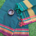 Narayanpet south cotton suit piece in forest green with zari border