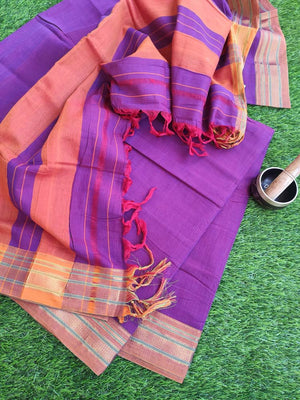 Narayanpet south cotton suit piece in fuschia pink with zari border