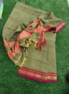 Narayanpet south cotton suit piece in mehendi green with zari border
