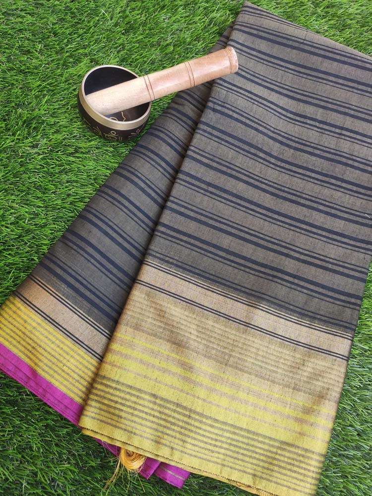 Striped chanderi gray saree with yellow golden border