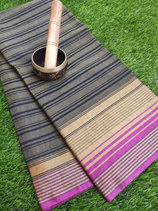 Striped chanderi gray saree with pink border