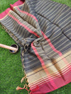 Striped chanderi gray saree with red border
