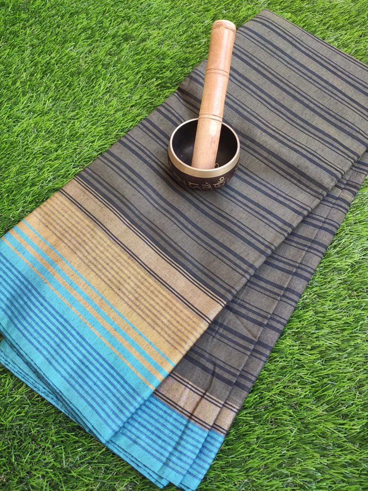Striped chanderi greenish black saree with blue border