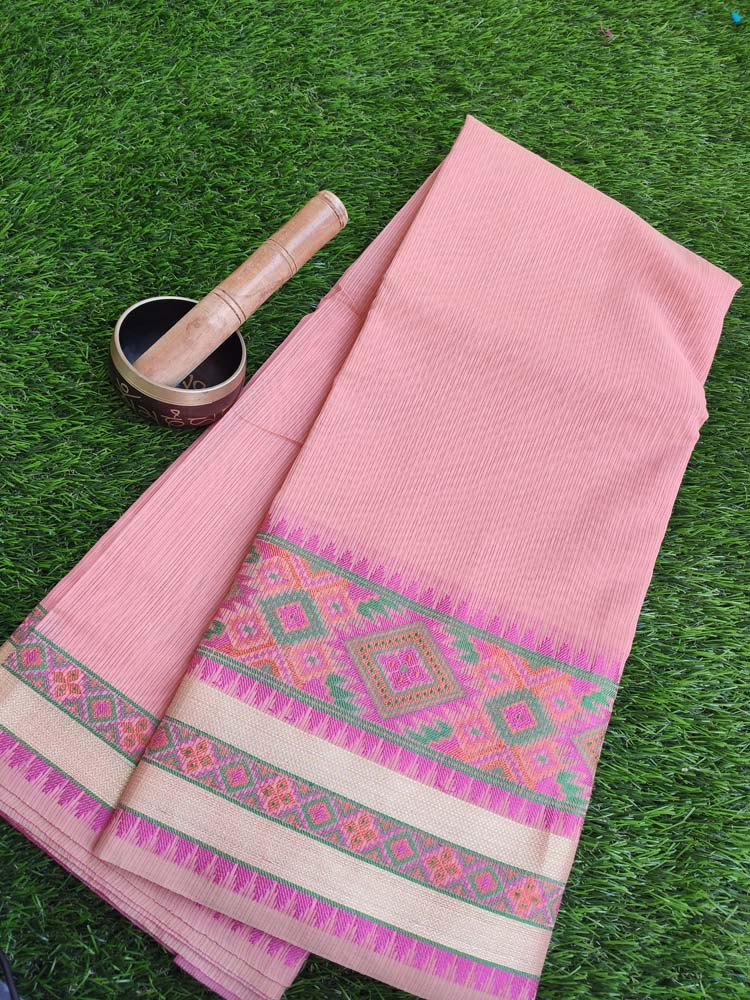 Plain peach kota saree with resham multicolor border