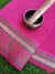 Plain bright pink kota saree with resham multicolor border