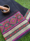 Plain kota saree with resham multicolor border