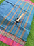 Turquoise blue small checks narayanpet south cotton saree with maroon border
