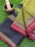 Green narayanpet south cotton saree with wide striped black border