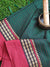 Bottle green narayanpet south cotton saree with small checks and red border