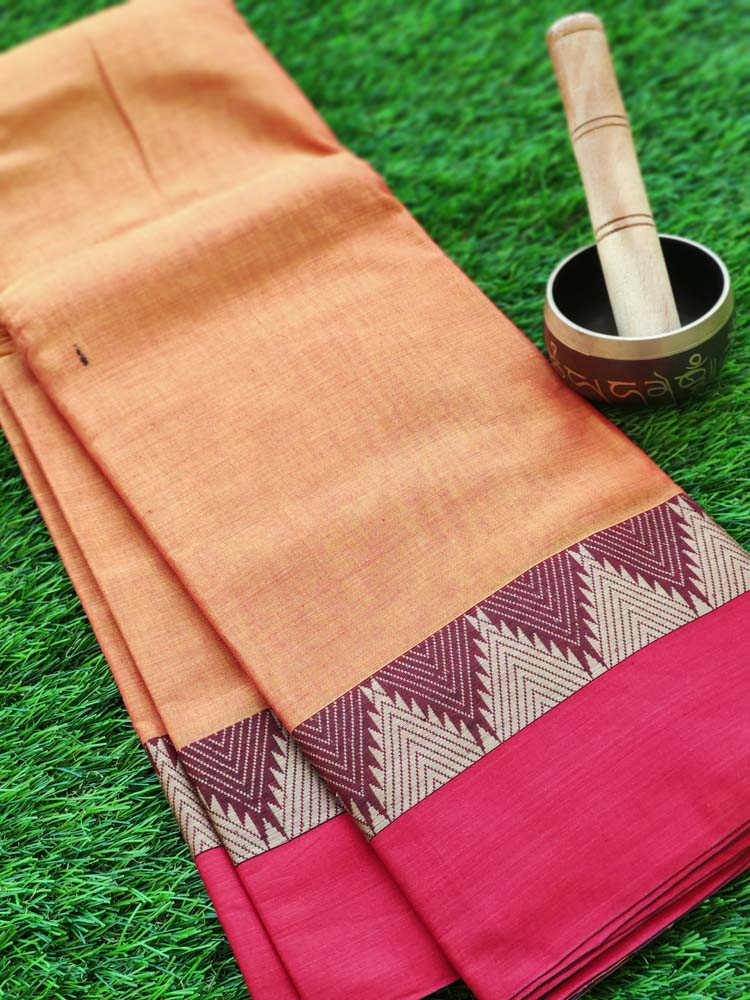 Mustard yellow narayanpet south cotton saree with temple resham on red border
