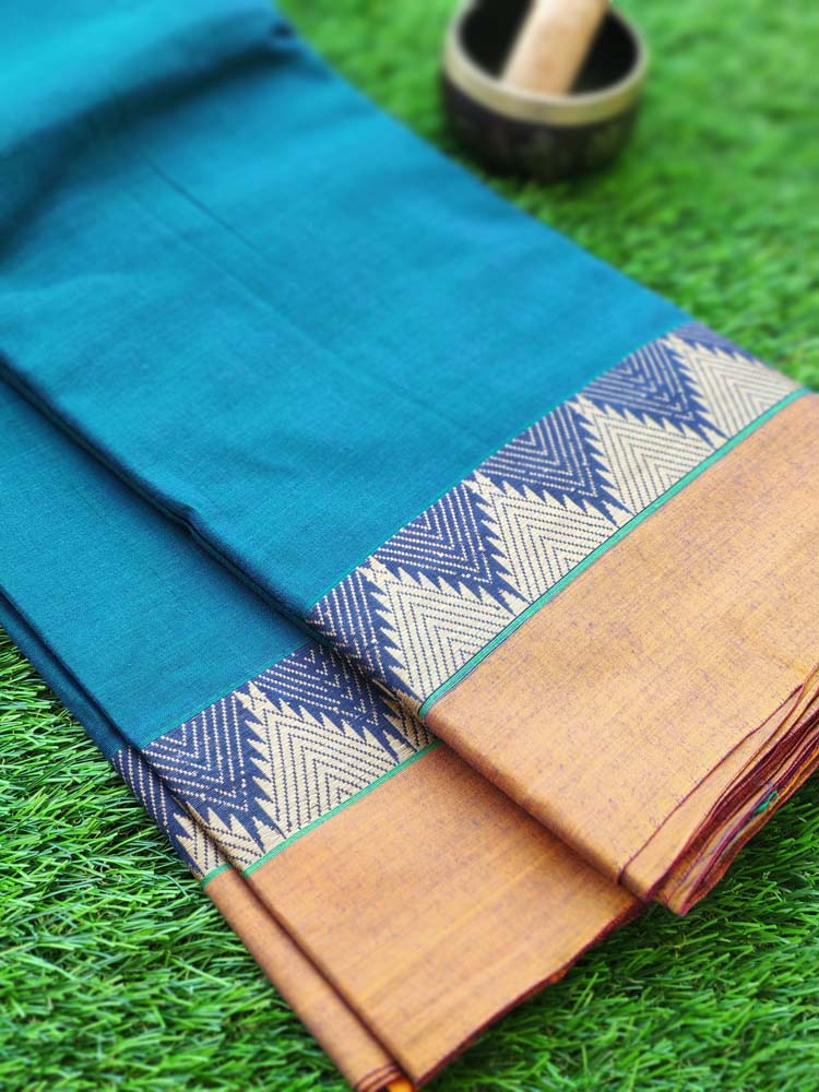 Turquoise blue narayanpet south cotton saree with resham mustard temple border
