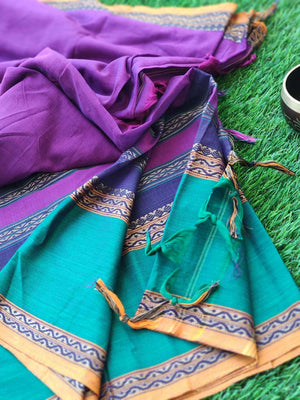 Purple narayanpet south cotton saree with wide green and black border