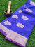 Blue narayanpet semi silk with zari floral booties and border
