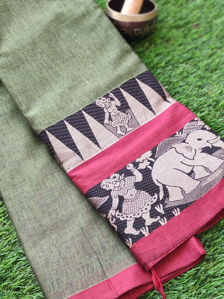 Green narayanpet south cotton saree with wide beautiful figures woven with resham border