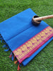 Blue narayanpet south cotton saree with zari peacock border