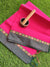 Bright pink narayanpet south cotton saree with small resham & zari floral border