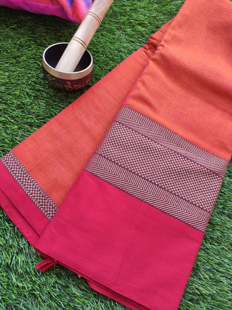 Orange narayanpet south cotton saree with wide resham square weaving border