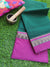 Bottle green narayanpet south cotton saree with resham on pink border