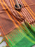 Brown narayanpet south cotton saree with resham temple border of green