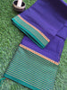 Blue narayanpet south cotton saree with wide green zari striped border
