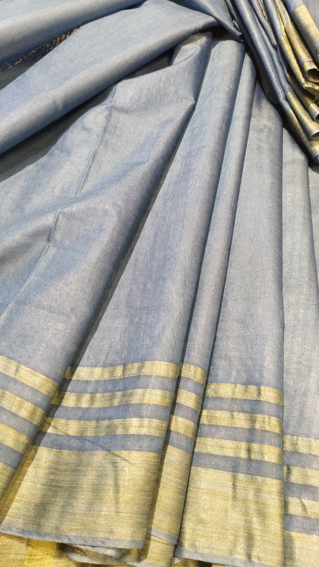Blue cotton silk saree with stripe border and aanchal