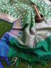 Silk dupatta with zari weaving allover on dark green & blue border