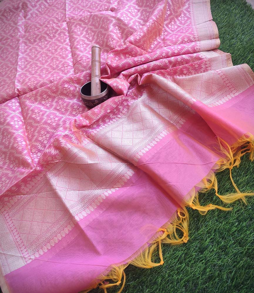 Light Pink woven jaal on chanderi dupatta with tassels at end