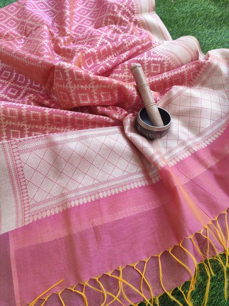 Pinkish orange woven jaal on chanderi dupatta with tassels at end