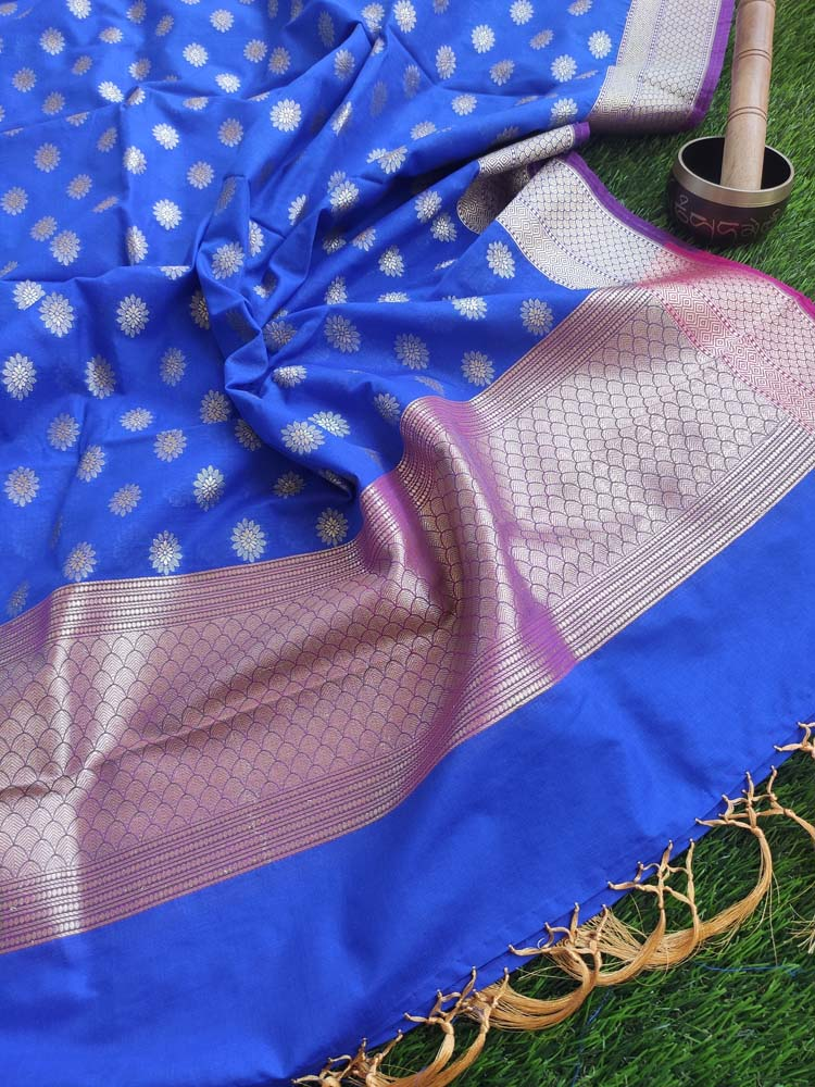Silk dupatta with zari booties woven allover on royal blue