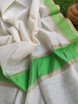 Offwhite pure linen lightweight dupatta with gold and bright green border.