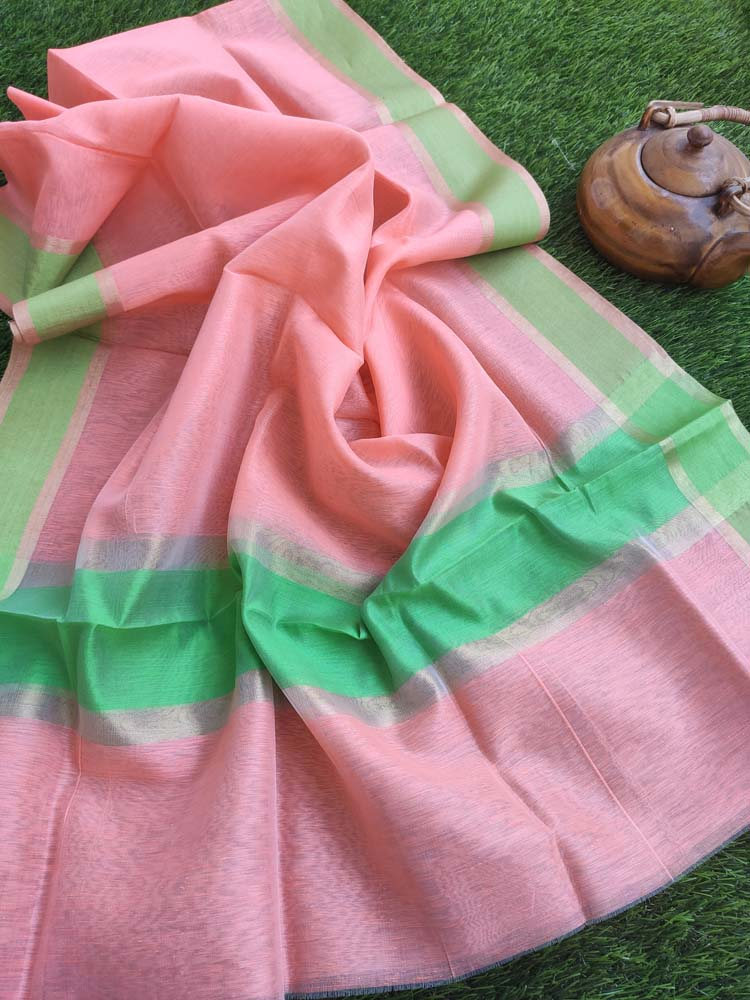Peach pure linen lightweight dupatta with gold and bright green border.