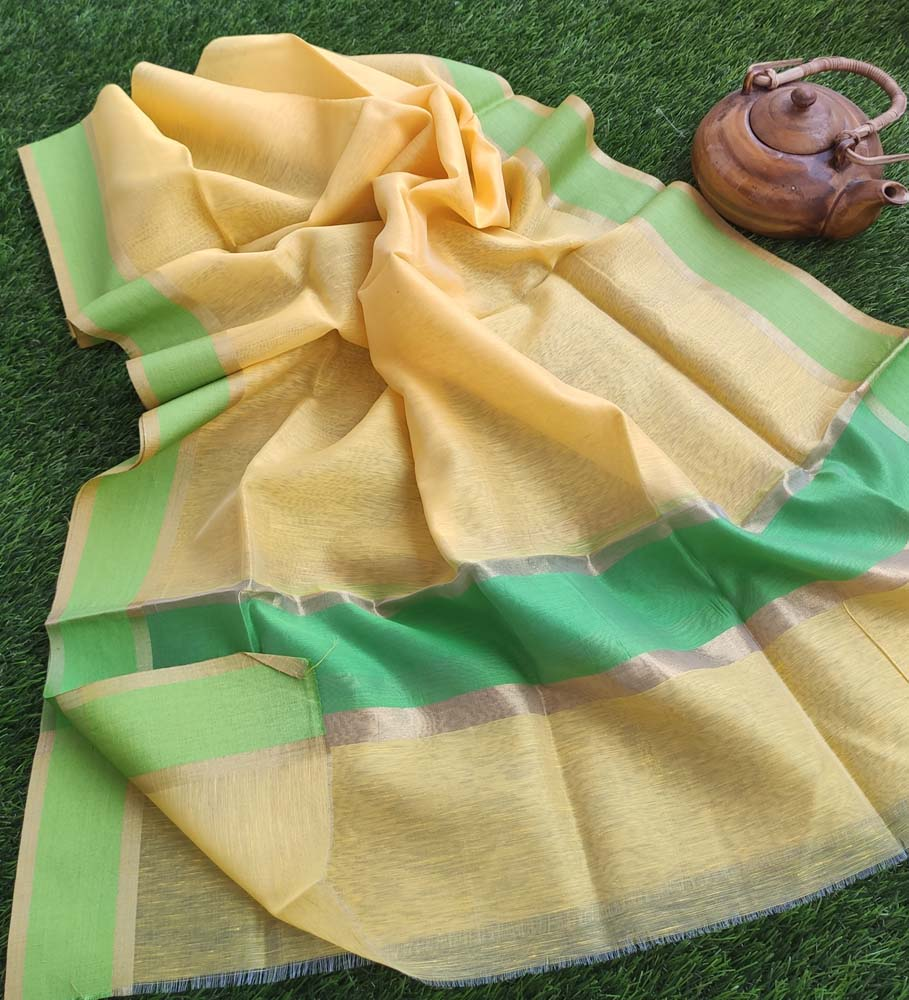 Bright yellow pure linen lightweight dupatta with gold and bright green border.