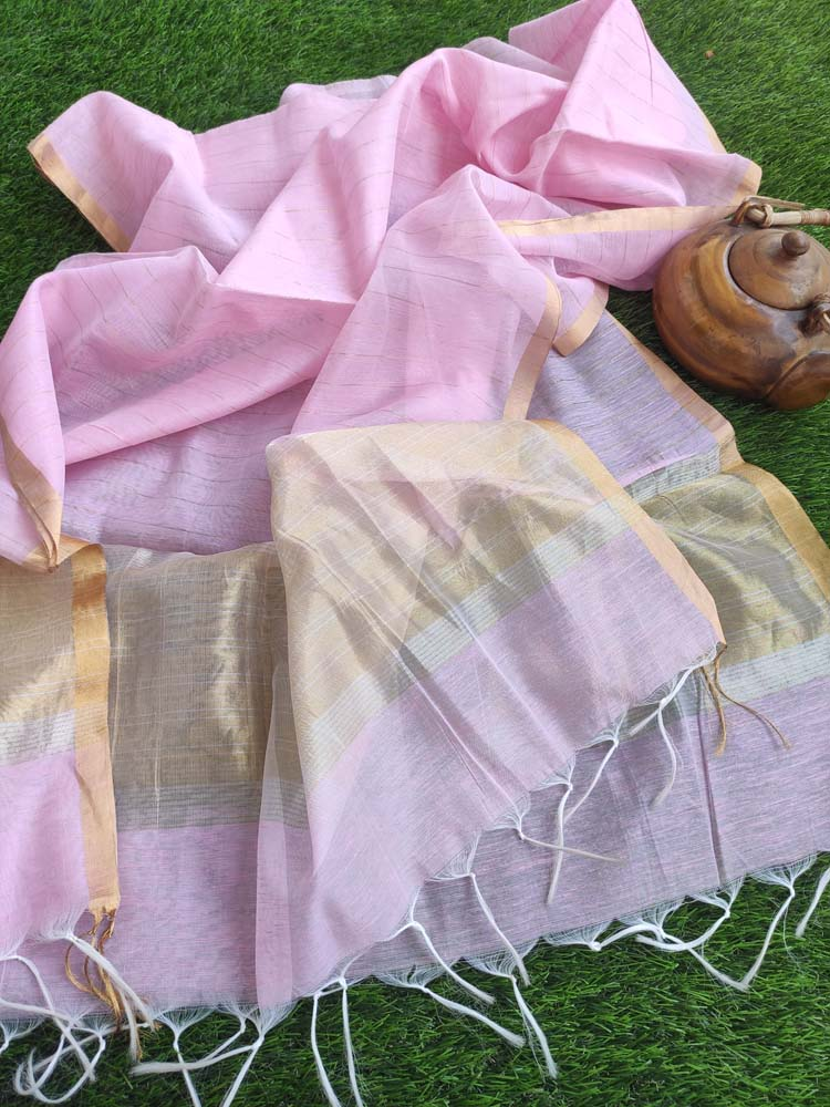 Baby pink linen dupatta with gold stripes & tassels at end