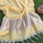 Bright yellow linen dupatta with gold stripes & tassels at end