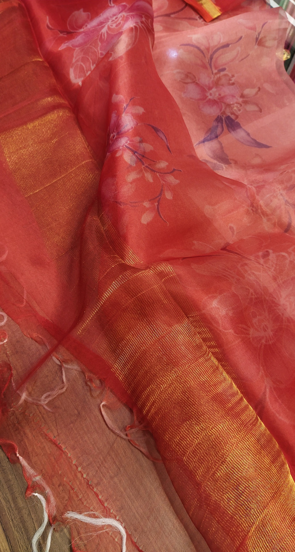 Beautiful bright pink digital printed pure kora silk dupatta