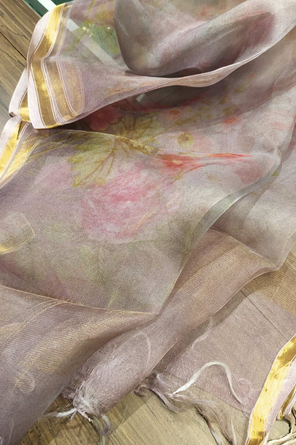 Light purple digital printed pure kora silk dupatta