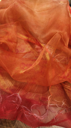 Bright orange digital printed pure kora silk dupatta