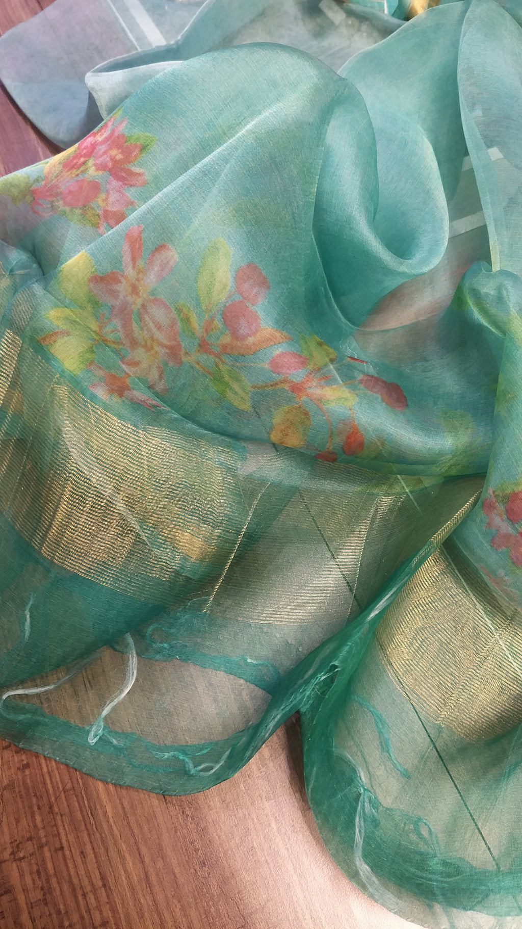 Peacock green digital printed pure kora silk dupatta