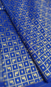 Briight blue silk blouse fabric