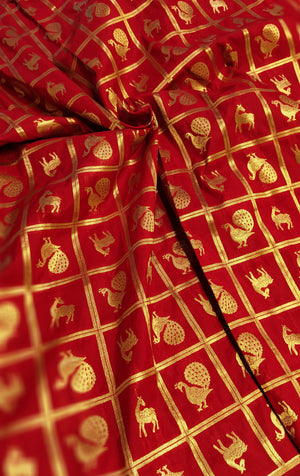 Golden checks on red blouse fabric