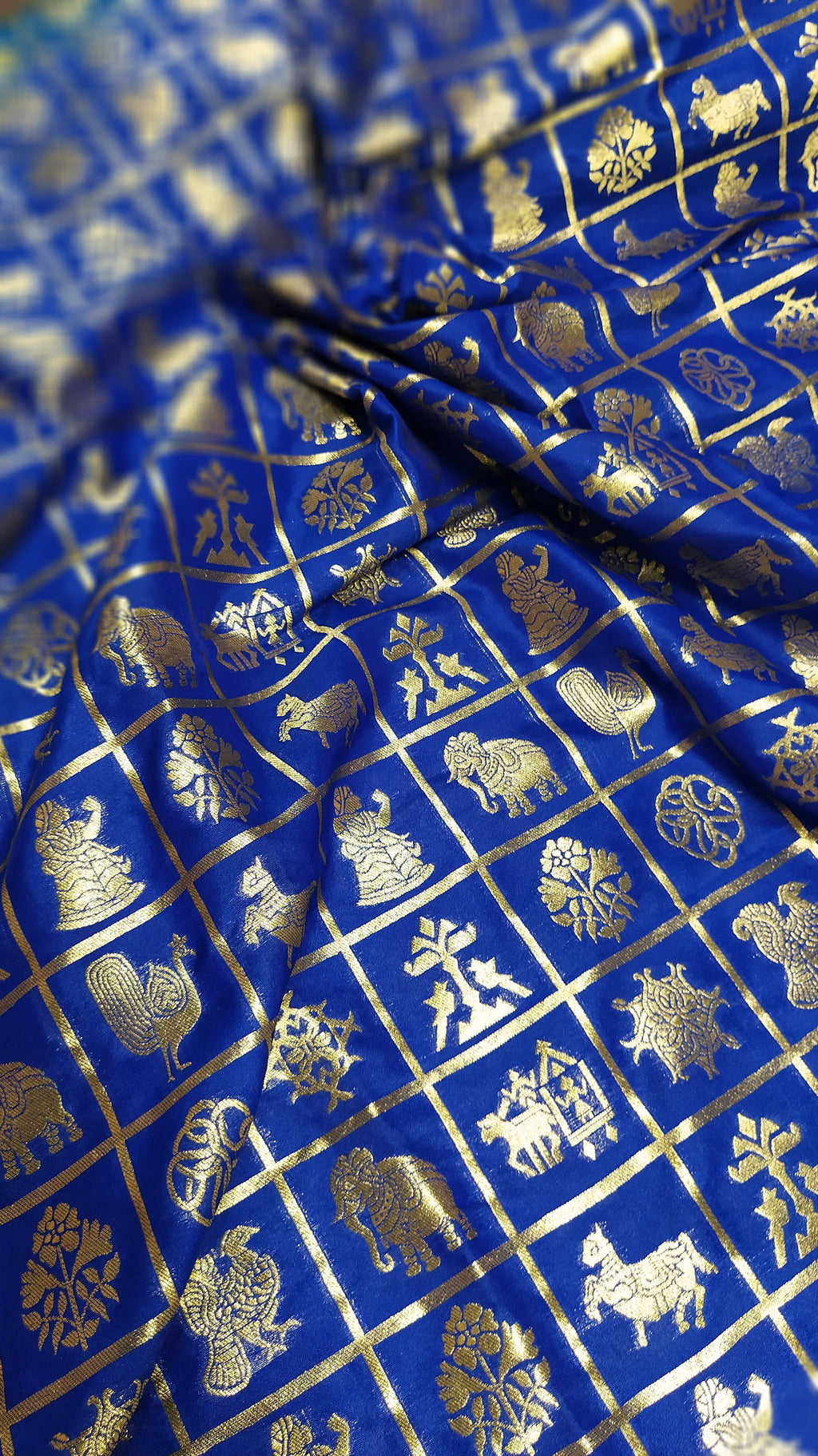 golden zari checks on royal blue blouse fabric