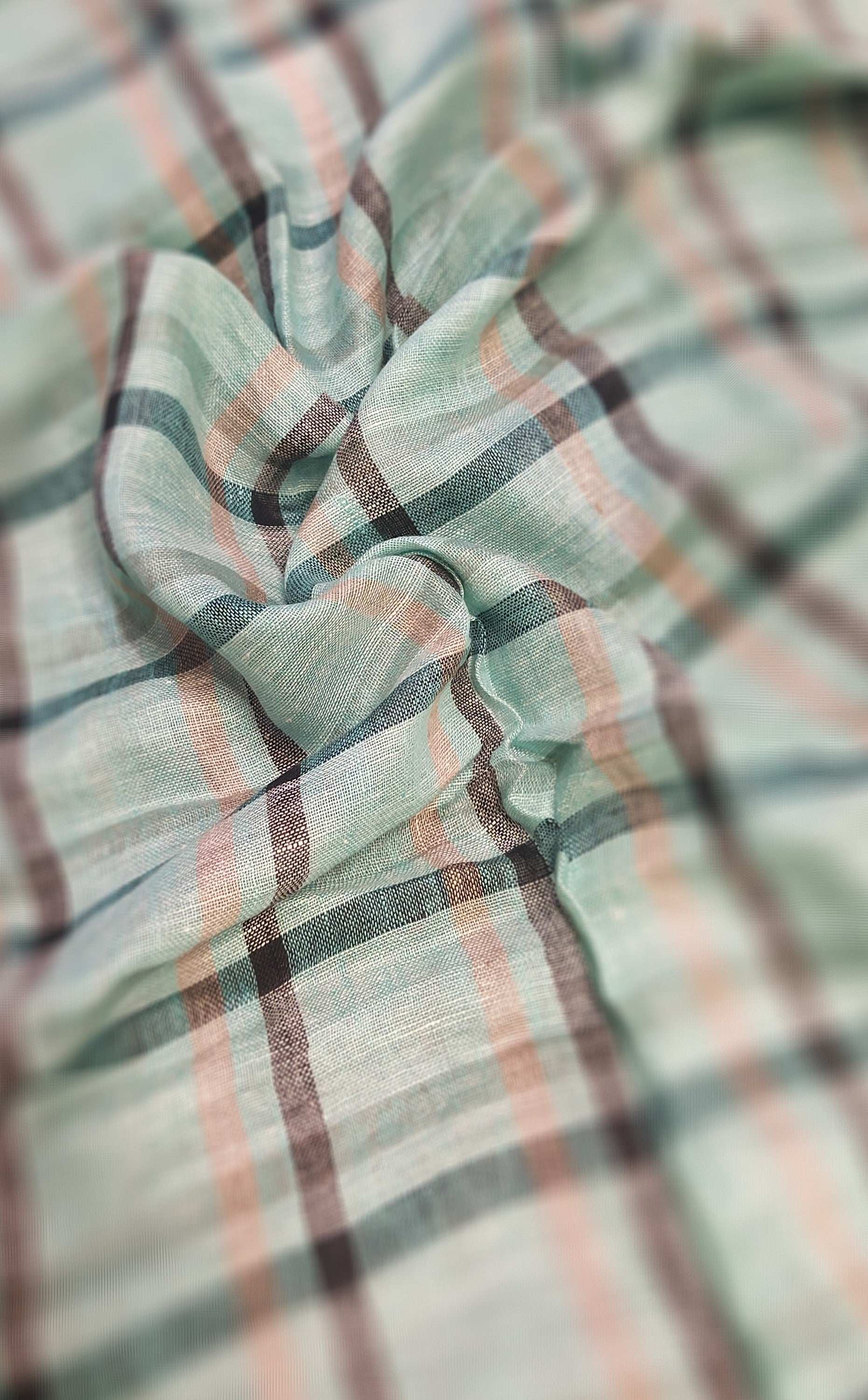 Light blue Pure linen blouse fabric with allover checks