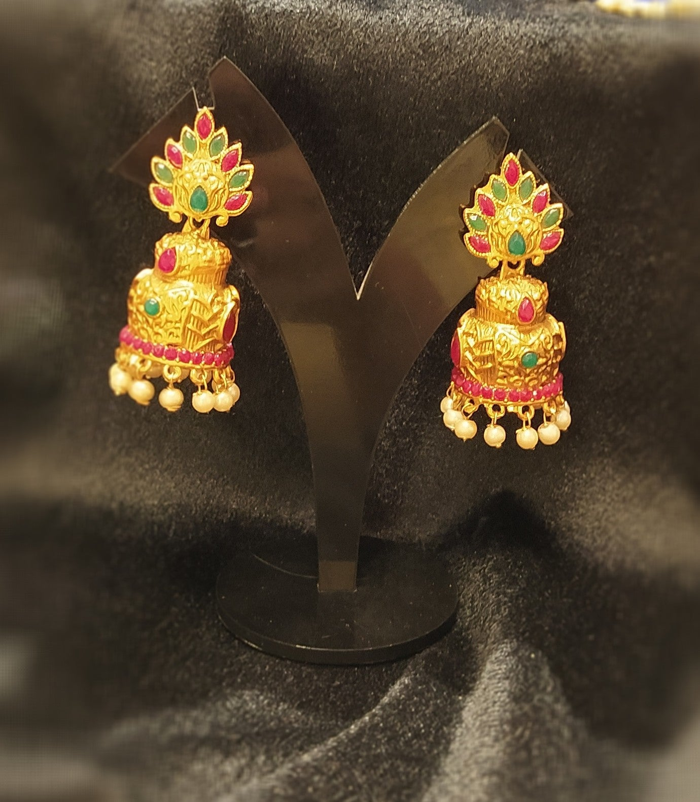 Traditional golden matte jhumka