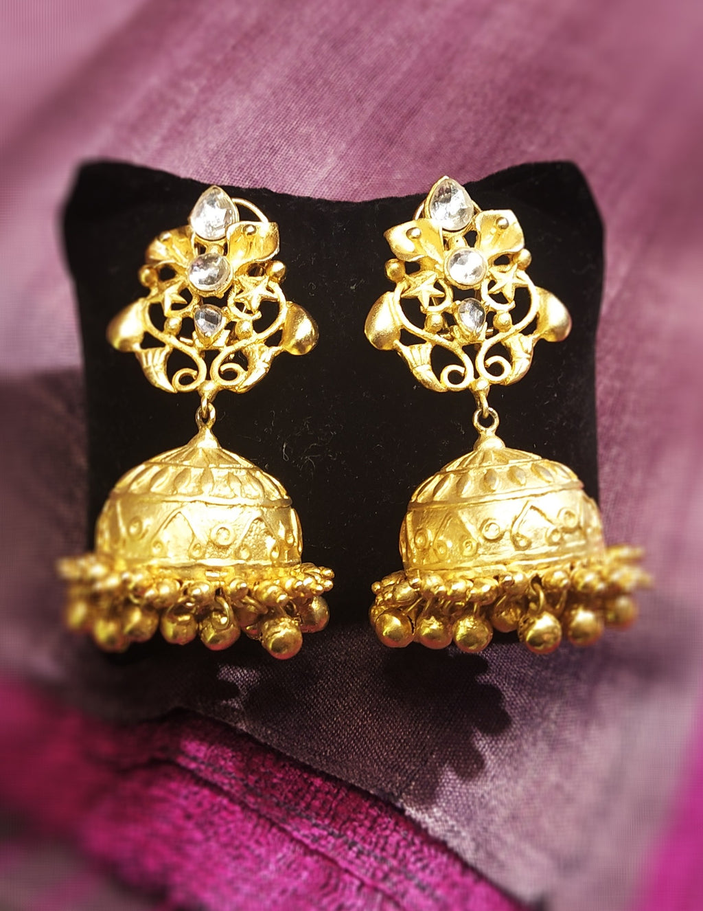 Golden matte jhumka