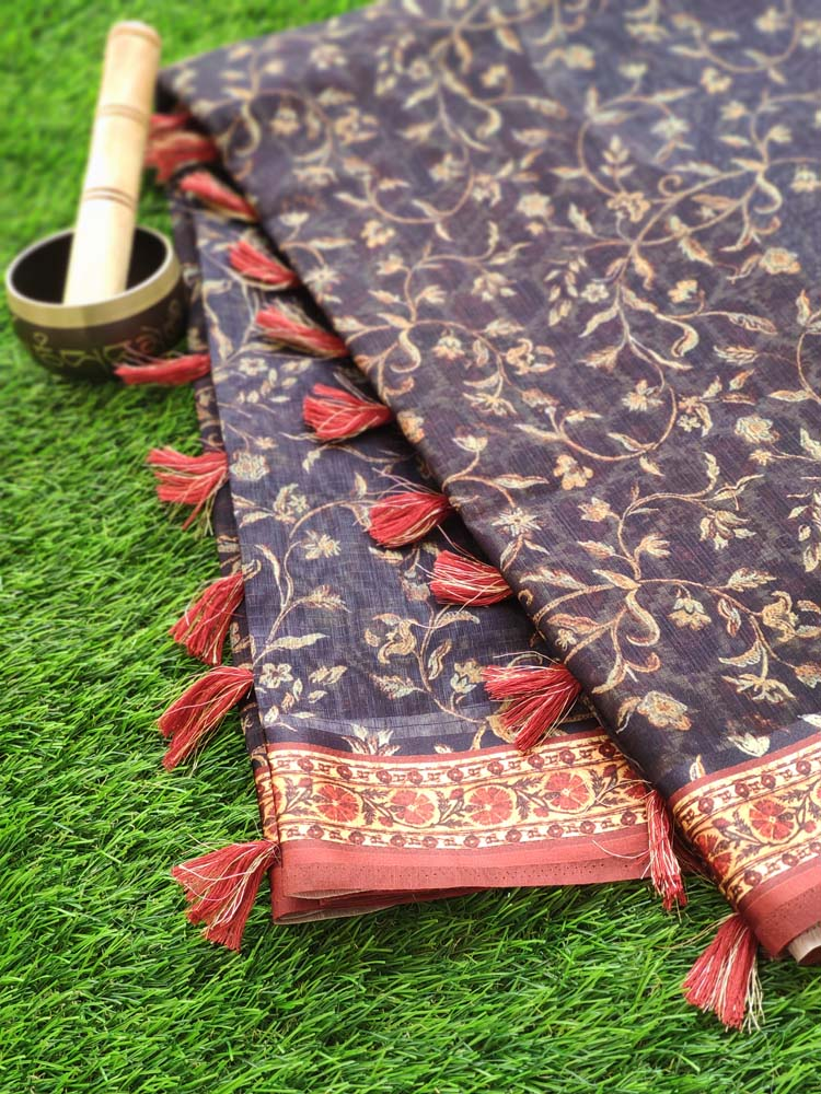 Digital floral printed navy blue cotton saree with red printed border