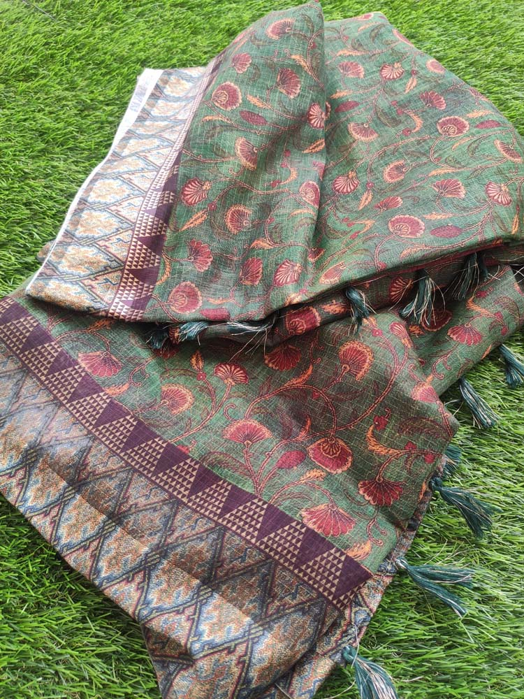 Digital floral printed dark green cotton saree with printed border