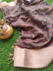 Digital printed brown linen saree with golden zari border
