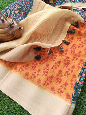 Digital printed florals on green linen saree with golden zari border