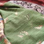 Digital madhubani printed brown cotton saree with resham border